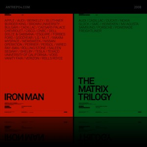 Movie posters with brand integration: Iron Man & The Matrix Trilogy