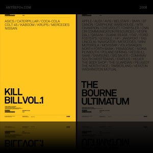 Movie posters with brand integration: Kill Bill Vol 1 & The Bourne Ultimatum